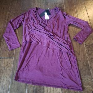 Heather Long Sleeve V-Tuck Dress Merlot Size Large